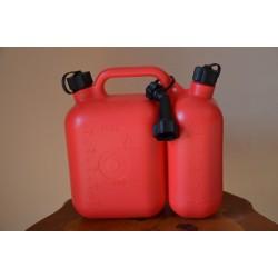 Kanister plastikowy podwójny 5 + 2.5 l czerwony