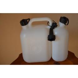 Kanister plastikowy podwójny 5 + 2.5 l biały